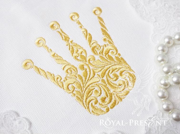 Дизайн для машинной вышивки Витиеватая корона - 4 размера