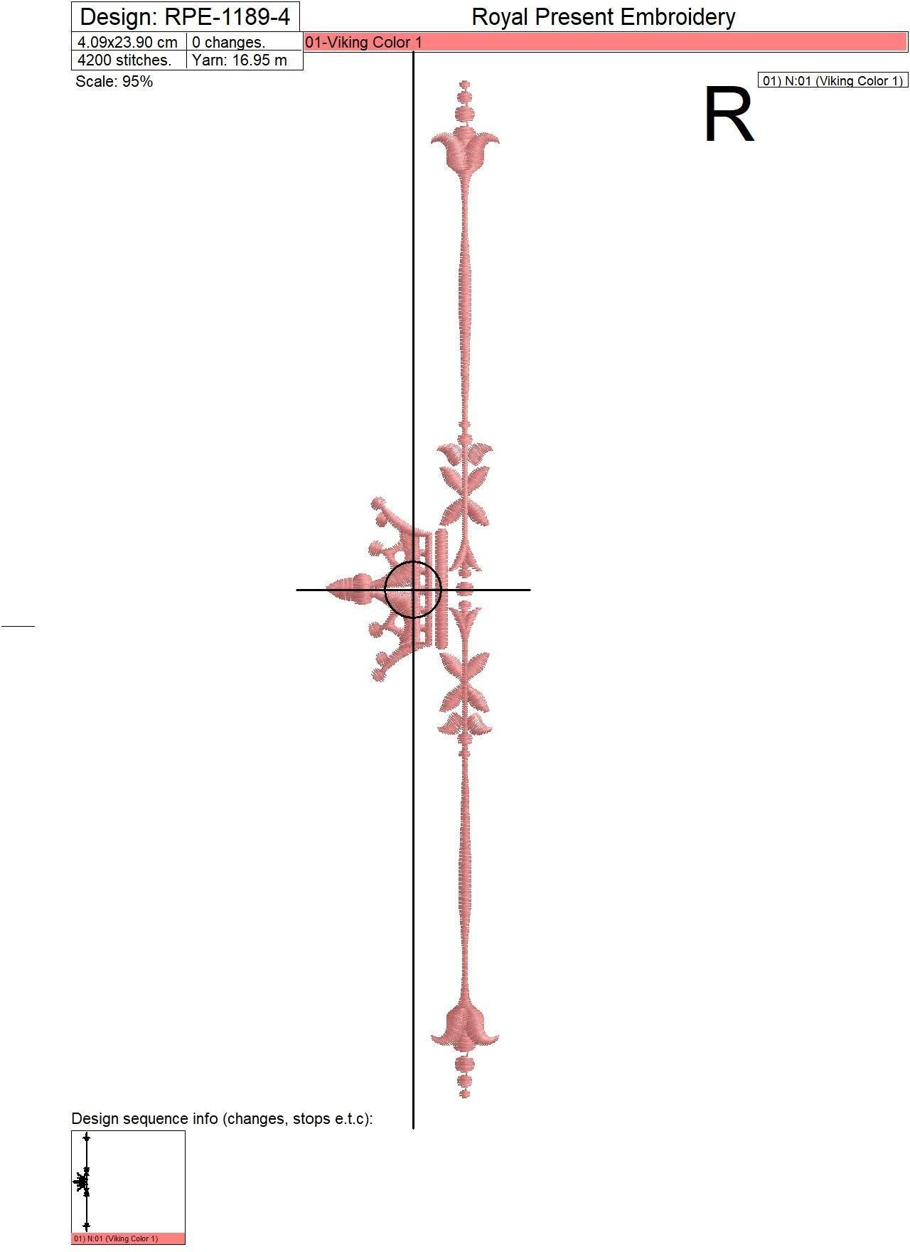 Два дизайна машинной вышивки Классические элементы с короной - 4 размера
