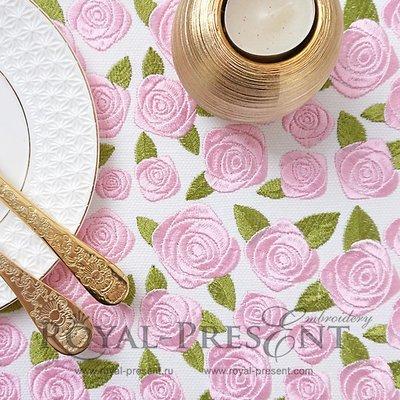 Дизайн машинной вышивки Фрагмент для бордюра из роз