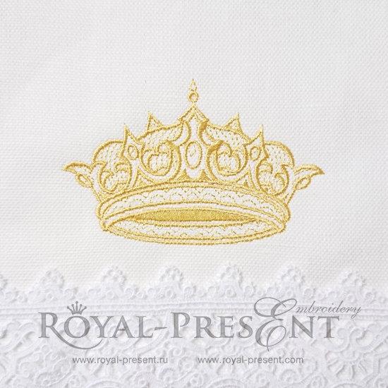 Дизайн машинной вышивки Изящная Золотая Корона - 3 размера RPE-1167