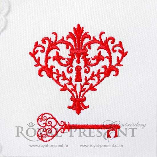 Дизайн для машинной вышивки Ключик от моего сердца FRP-019