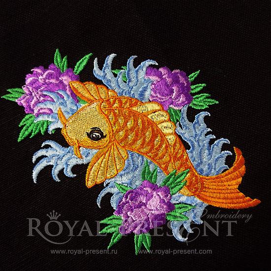 Дизайн машинной вышивки Рыбка КОИ - 4 размера RPE-099