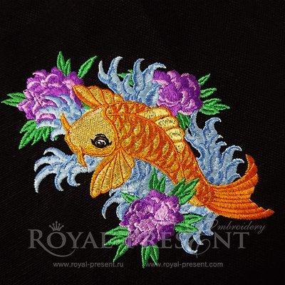 Дизайн машинной вышивки Рыбка КОИ - 4 размера