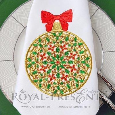 Рождественский Дизайн машинной вышивки Елочный шар - 8 размеров