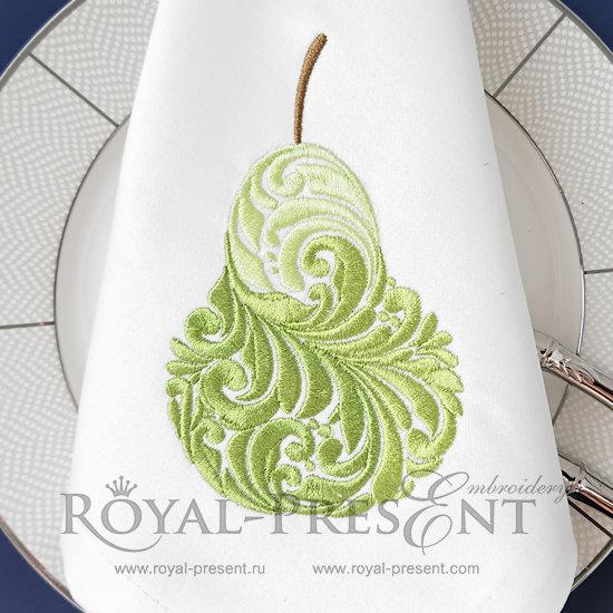 Дизайн машинной вышивки Витиеватая груша - 2 размера