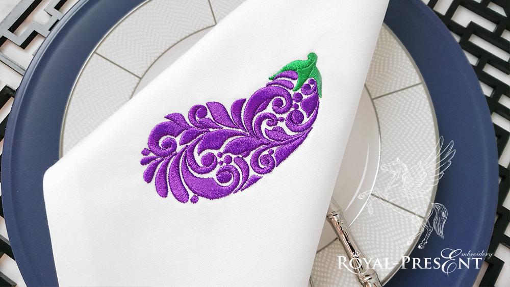 Бесплатный Дизайн машинной вышивки Баклажан - 3 размера