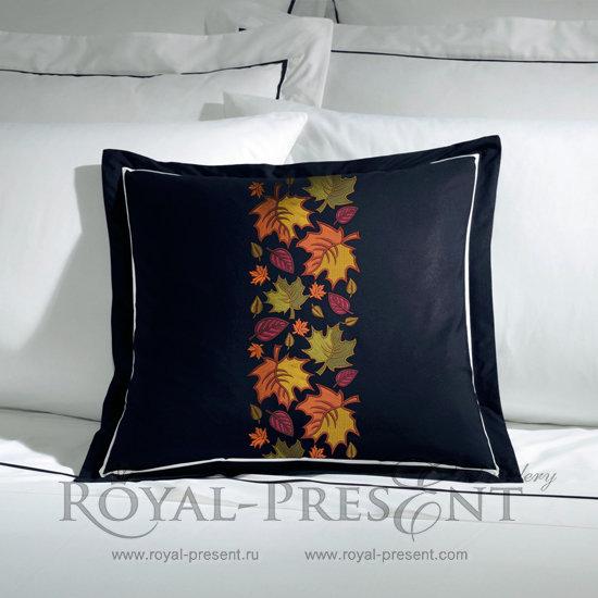 Дизайн машинной вышивки Бордюр Осенние листья - 2 размера