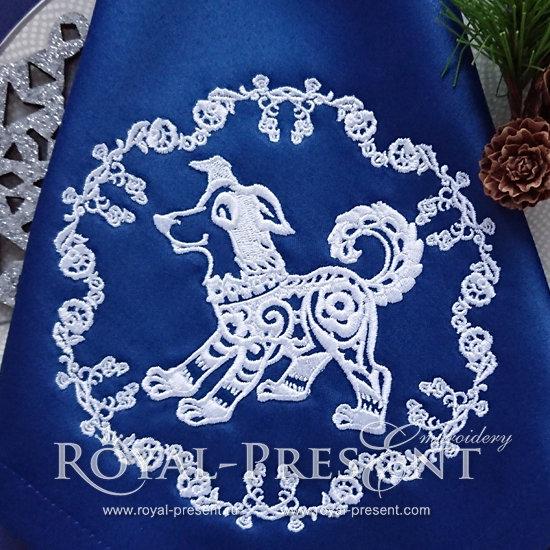 Новогодний Дизайн машинной вышивки Китайская собака - 5 размеров RPE-1203