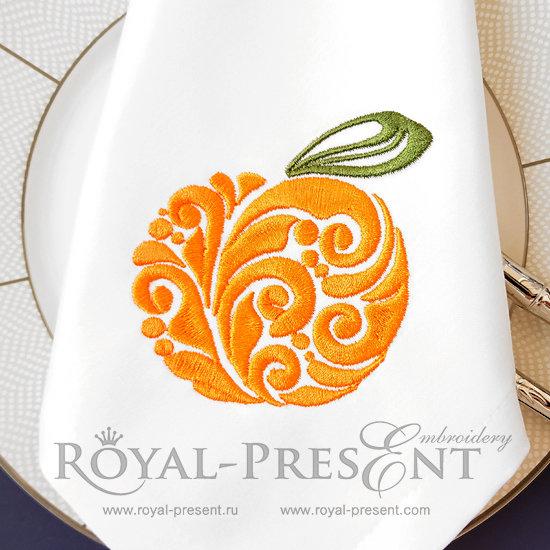 Орнаментальный Дизайн машинной вышивки Апельсин