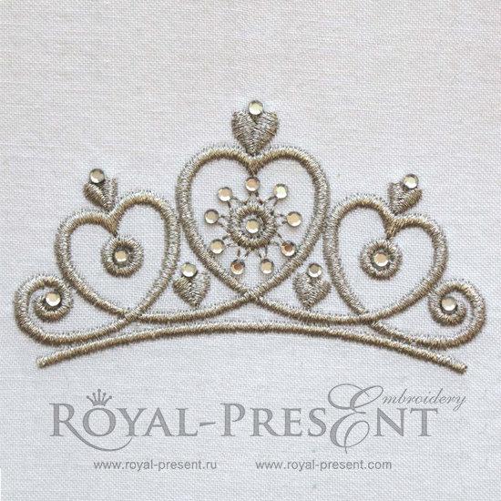 Дизайн машинной вышивки Тиара принцессы со стразами RPE-953
