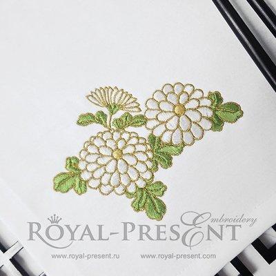 Дизайн машинной вышивки Букет Хризантем - 5 размеров