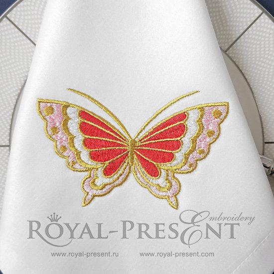 Бабочка Дизайн машинной вышивки - 3 размера