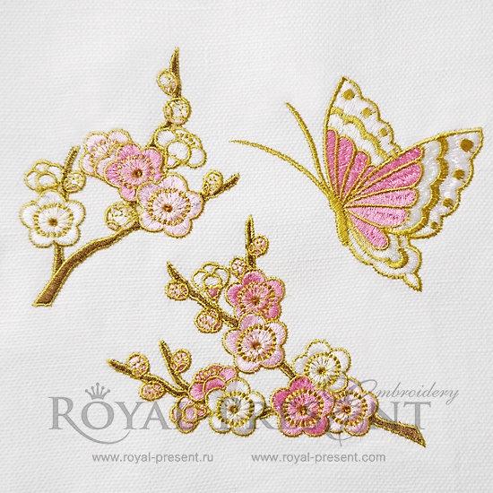 Набор дизайнов машинной вышивки Сакура и бабочка