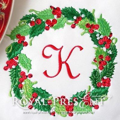 Новогодний дизайн машинной вышивки Рождественский венок с ягодами