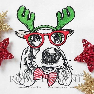 Новогодний Дизайн машинной вышивки Собака - 2 размера