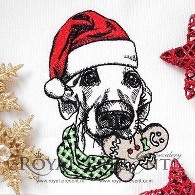 Новогодняя Собака Дизайн машинной вышивки - 2 размера