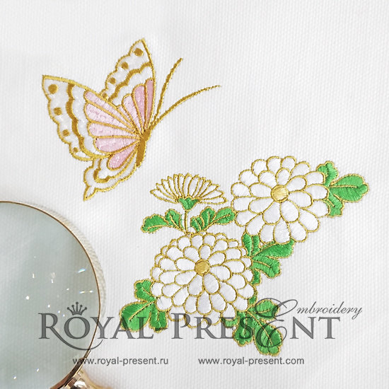 Набор дизайнов машинной вышивки Хризантема и бабочка