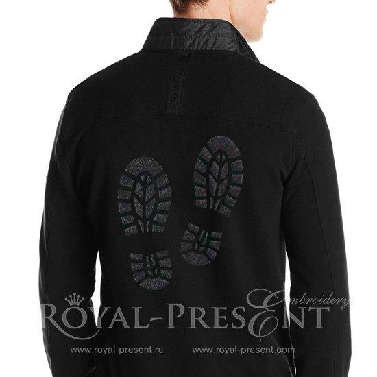 Дизайн машинной вышивки бесплатно Следы от ботинок - 4 размера RPE-1034