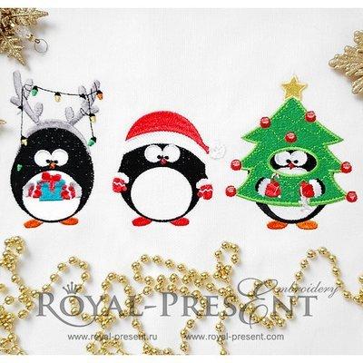 Дизайны машинной вышивки Смешные новогодние Пингвины
