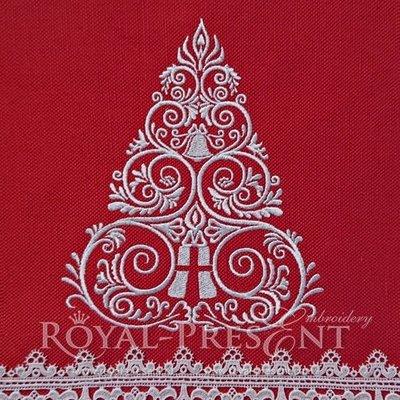 Новогодний Дизайн машинной вышивки Елочка - 4 размера