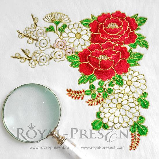 Угловой Дизайн машинной вышивки Пионы и хризантемы - 3 размера