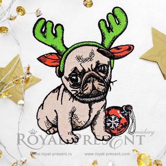 Дизайн машинной вышивки Новогодний щенок - 3 размера