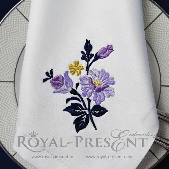 Бесплатный Дизайн машинной вышивки Пурпурные розы RPE-1220-2