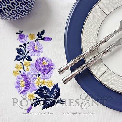 Дизайн машинной вышивки Пурпурные розы