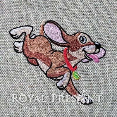 Дизайн машинной вышивки Веселый Щенок - 3 размера