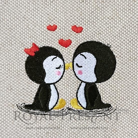 Дизайн машинной вышивки Влюбленные Пингвины