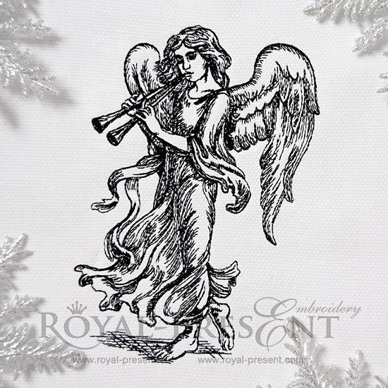 Дизайн машинной вышивки Ангел с флейтами RPE-961