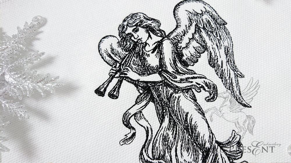 Дизайн машинной вышивки Ангел с флейтами