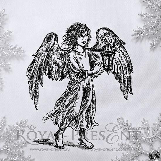 Дизайн машинной вышивки Ангел с фонариком RPE-601