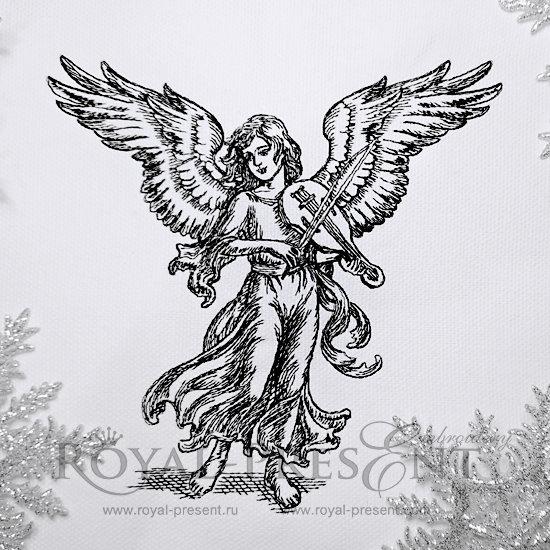 Дизайн машинной вышивки Ангел играющий на скрипке