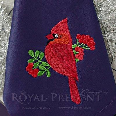 Дизайн машинной вышивки Кардинал и рябина
