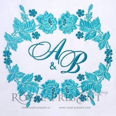 Дизайн машинной вышивки Обрамление из роз - 2 размера
