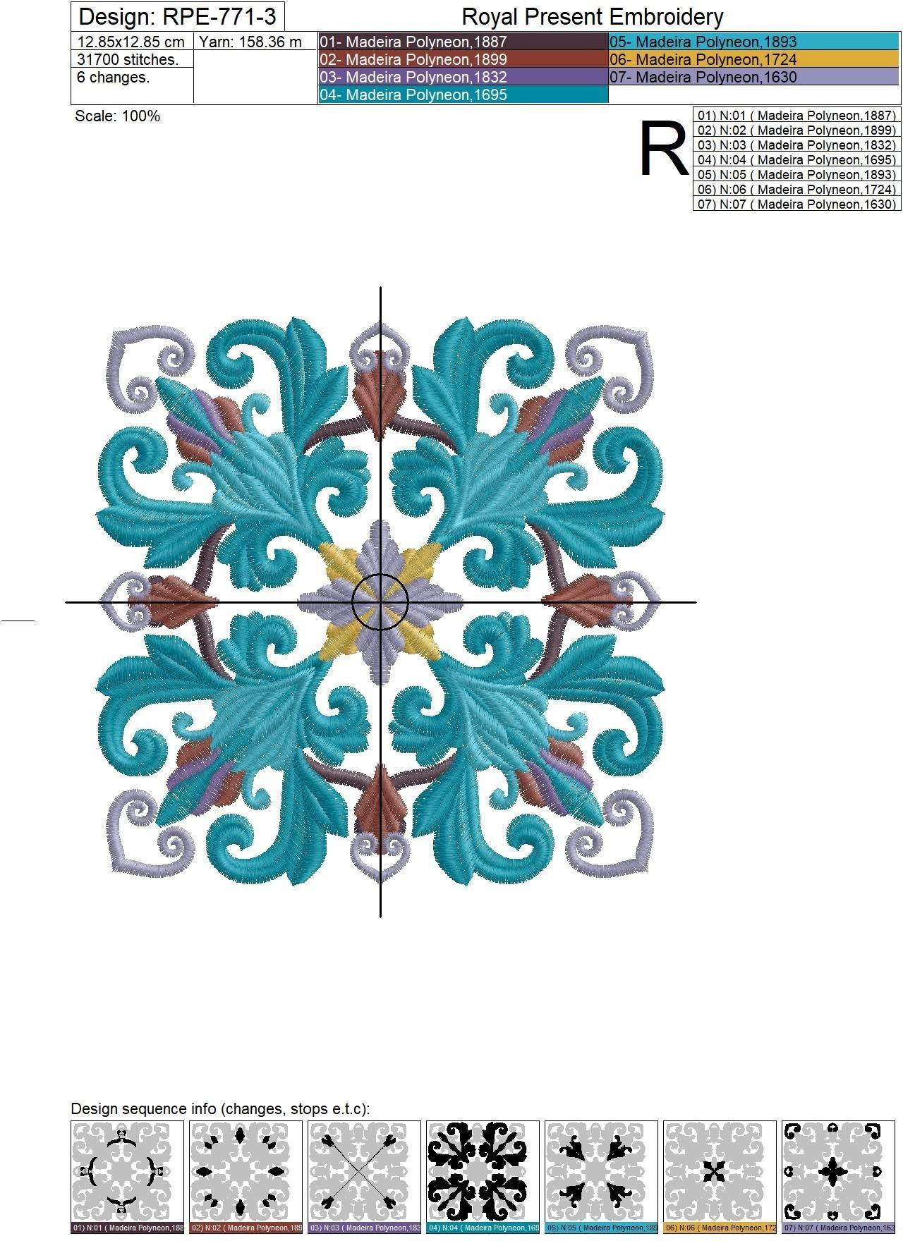 Дизайн машинной вышивки Квилт блок цвет Павлин - 7 размеров