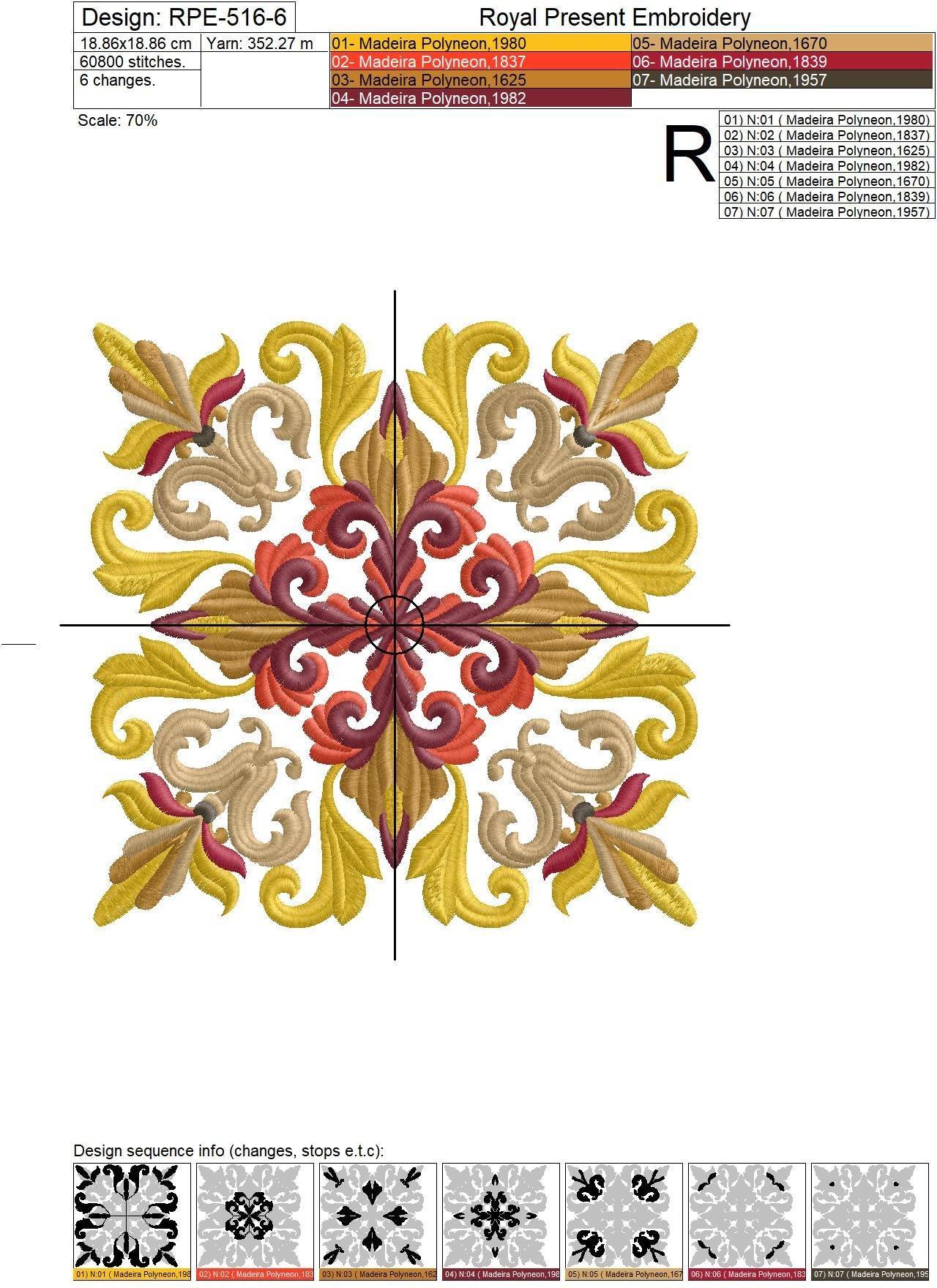 Дизайн машинной вышивки Квилт блок Средневековый Акантус - 7 размеров