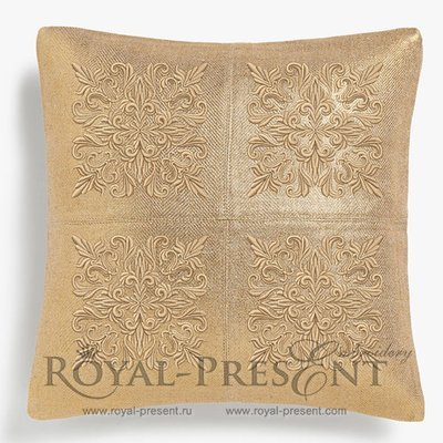 Дизайн машинной вышивки Квилт блок золотой - 7 размеров