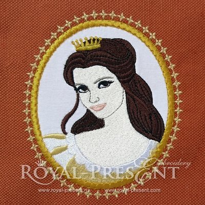 Дизайн машинной вышивки с аппликацией Медальон Принцесса Белль