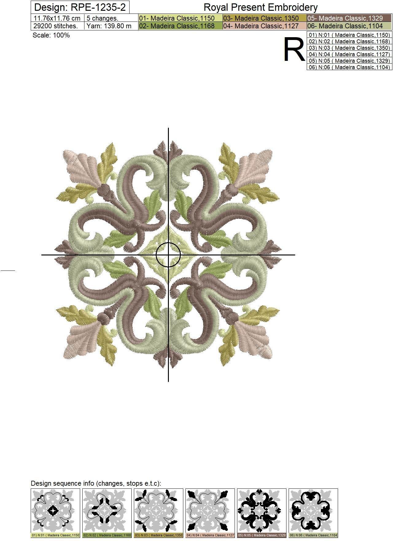 Дизайн машинной вышивки Средневековый Квилт блок - 7 размеров