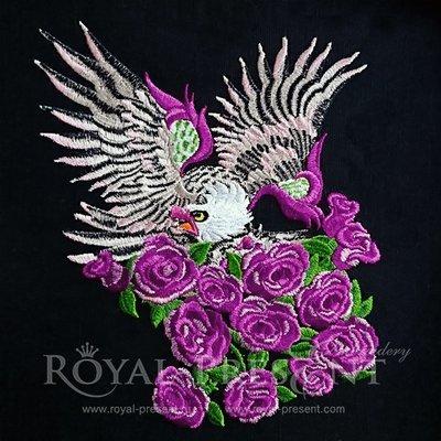 Дизайн машинной вышивки Орел с розами - 2 размера