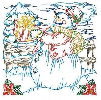 Дизайн машинной вышивки Новогодний квилт Снеговик
