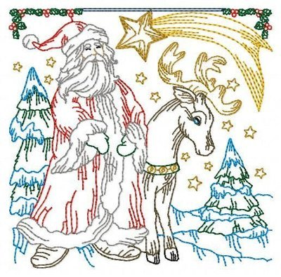 Дизайн машинной вышивки Квилт Дед Мороз и Олень