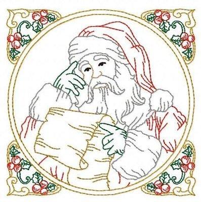 Дизайн машинной вышивки Квилт блок Дед Мороз