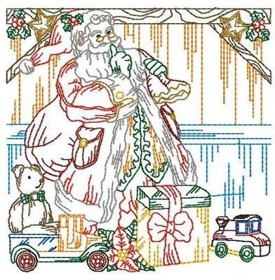 Дизайн машинной вышивки Новогодний квилт Дед Мороз
