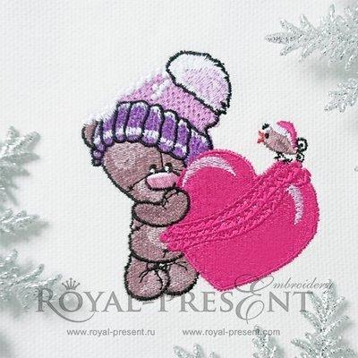 Дизайн машинной вышивки Милый Мишка с сердечком