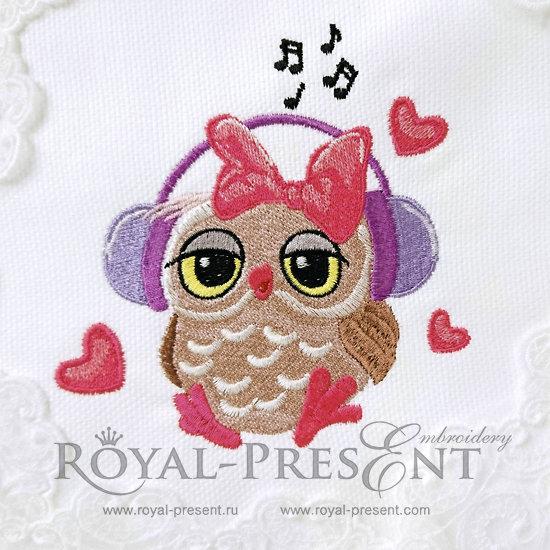 Дизайн машинной вышивки Влюбленная Сова