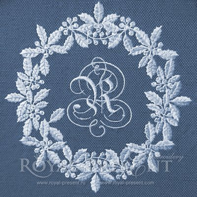 Дизайн машинной вышивки Белый новогодний венок для монограммы