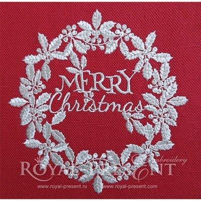 Дизайн машинной вышивки Белый новогодний венок